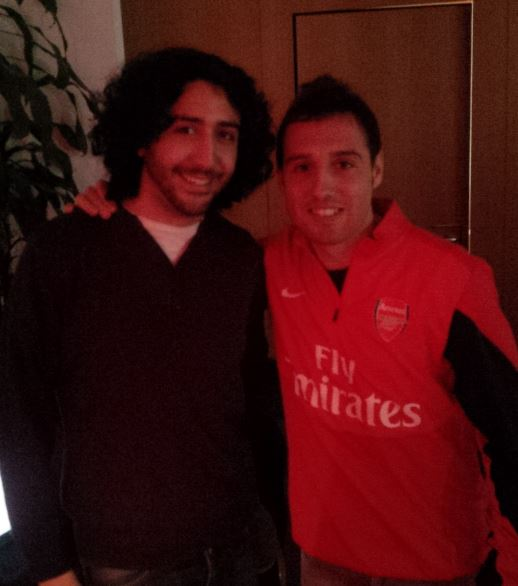 With Santi Cazorla at Arsenal training ground after interviewing him in Spanish