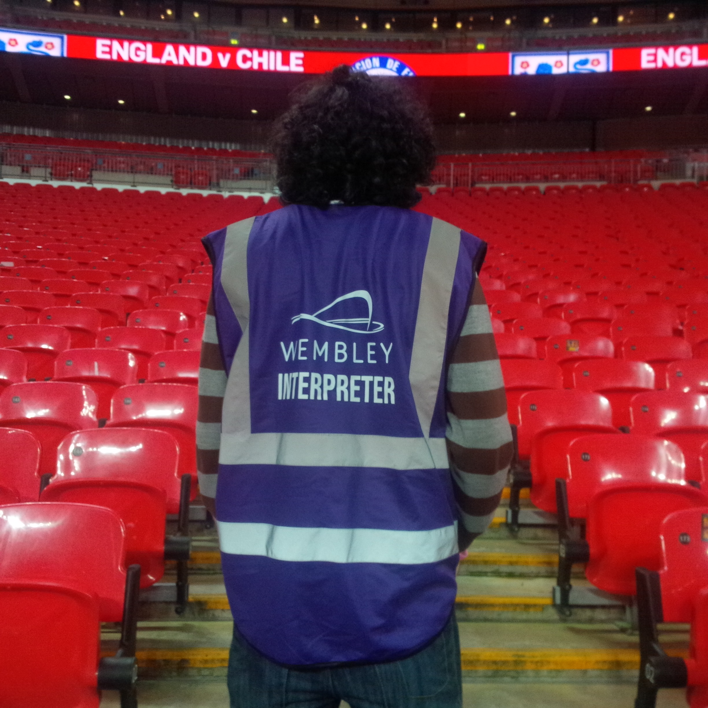 Working as a Spanish football turnstile interpreter at England V Chile