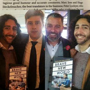 Marc Joss football translator with Guillem Balagué and Mauricio Pochettino at the 'Brave New World' book launch in November 2017ish