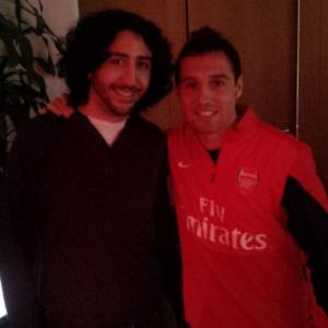Marc Joss football translator/interpreter with Santi Cazorla