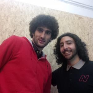 Marc Joss, football interpreter at New Balance launch event with Manchester United's Marouane Fellaini, January 2015
