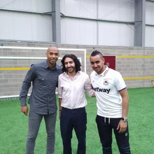 Marc Joss football translator with Thierry Henry and Dimitri Payet