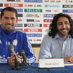 Marc Joss Spanish-English consecutive interpreter at Japan v Paraguay friendly in June 2018